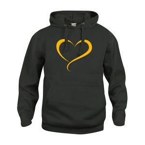 Tahko Keltainen Sydän Huppari - aikuiset - musta